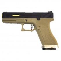 WE Force Glock 17 (Black Slide/Gold Barrel) FDE GBB Pistol