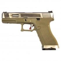 WE Force Glock 17 (Silver Slide/Silver Barrel) FDE GBB Pistol