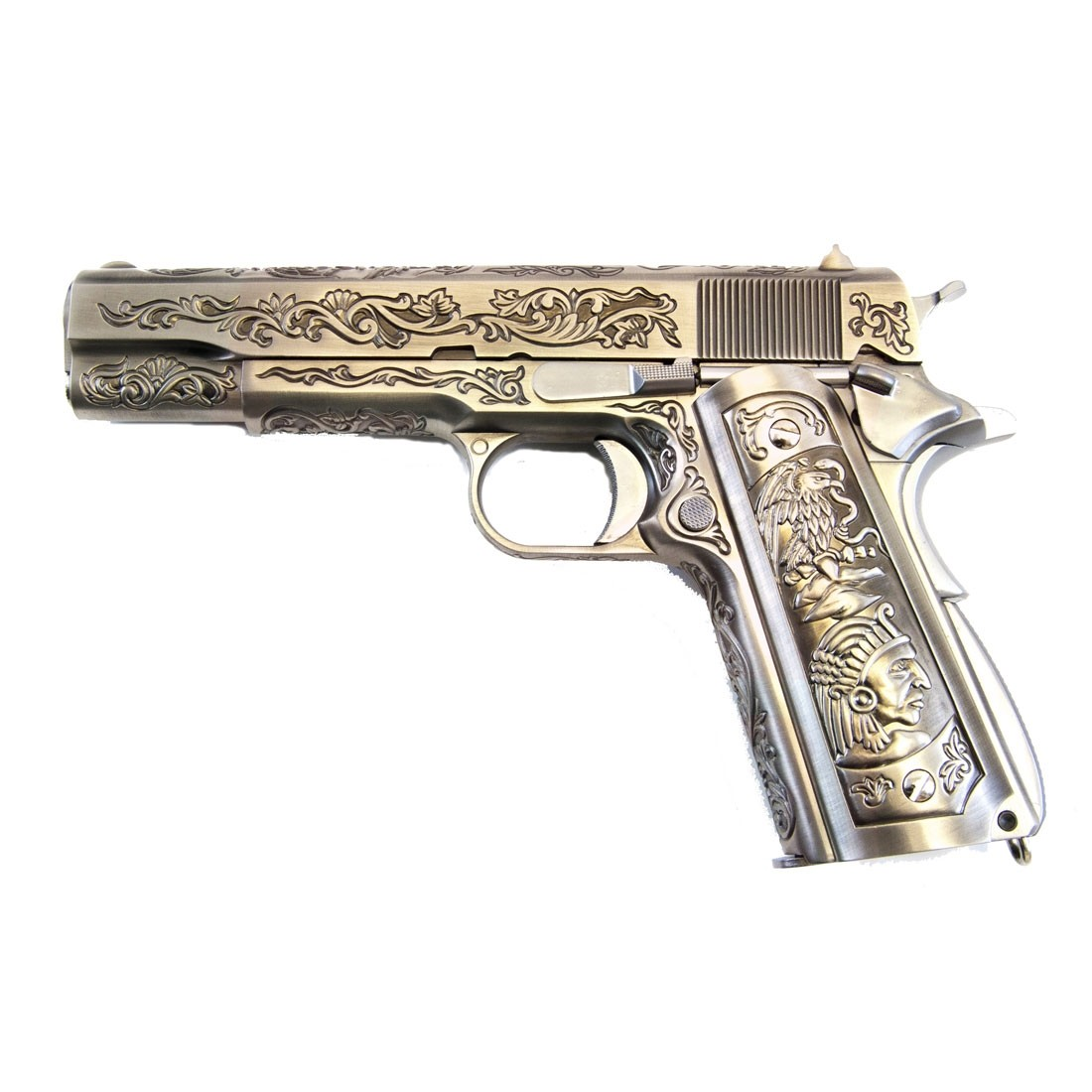 WE Colt 1911Chrome Engraved Special Edition 'Mehico Druglord' Airsoft GBB Pistol