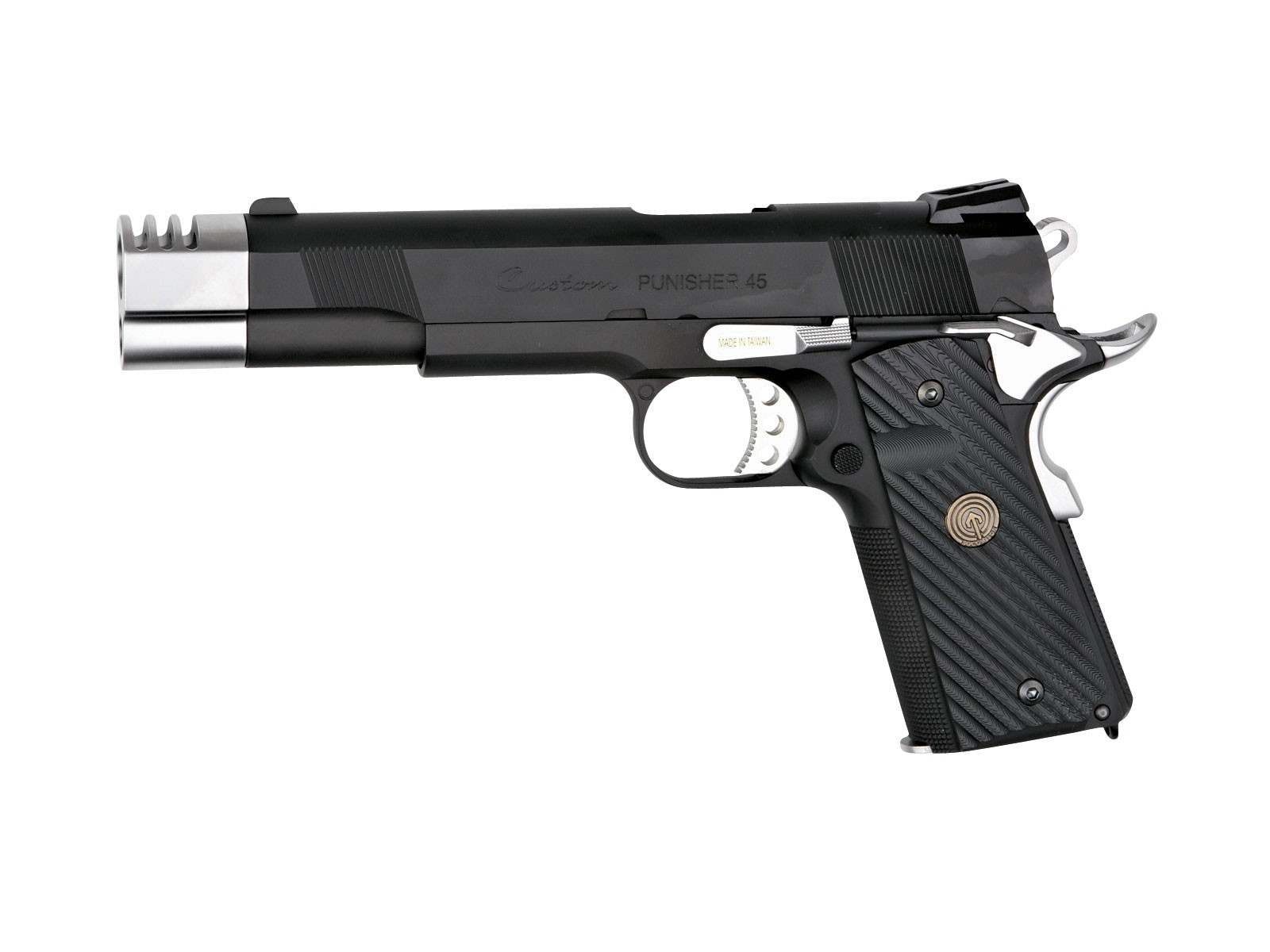 Socom Gear Punisher 1911 Black & Silver Airsoft GBB Pistol with Hard Case