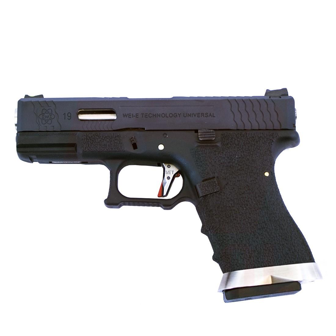 WE Glock 19 Force GBB Pistol (Black Slide/Silver Barrel)