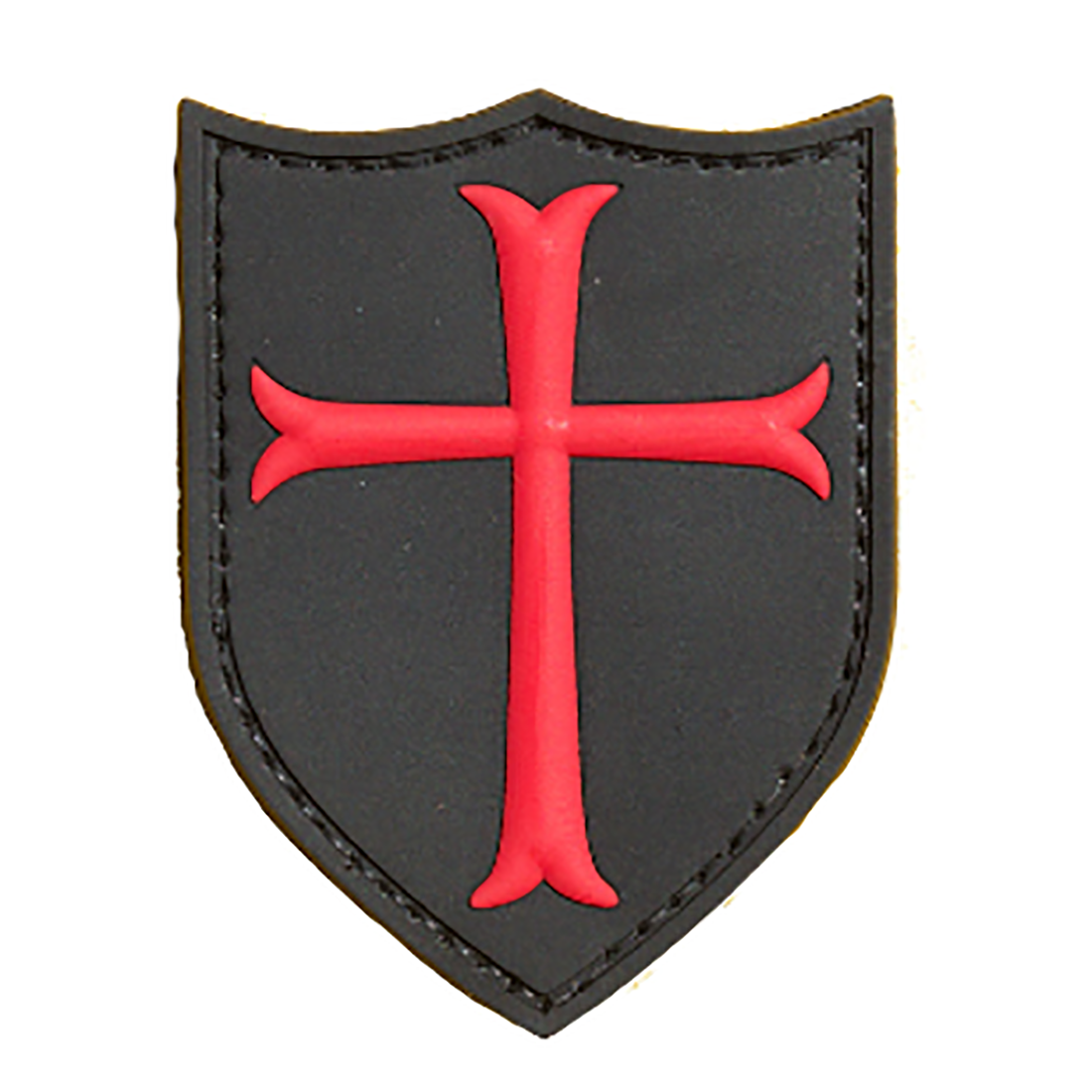 CRUSADER CROSS (Red/Black) Tactical Rubber Velcro Patches