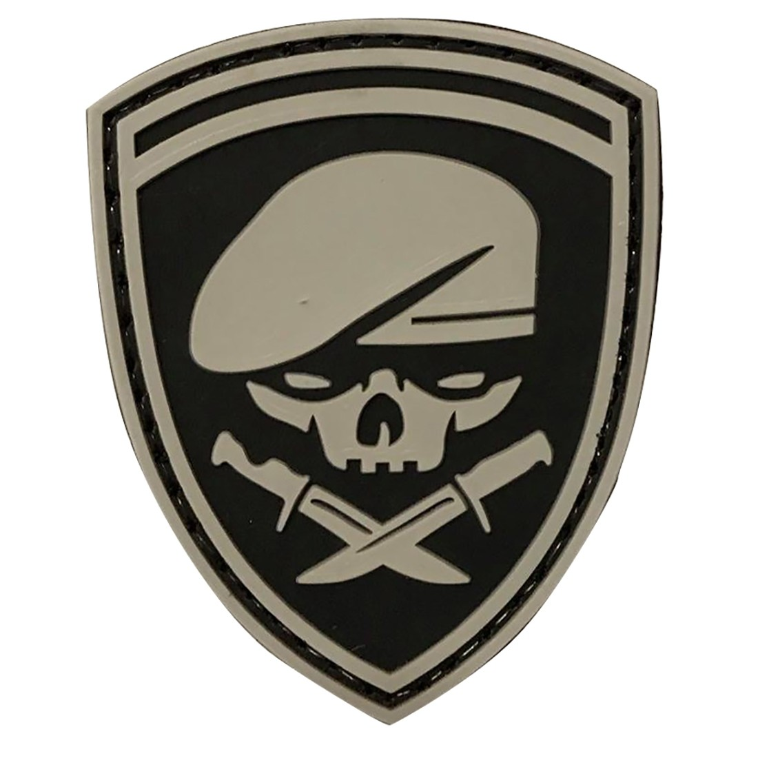 SKULL BERET Tactical Rubber Velcro Patches