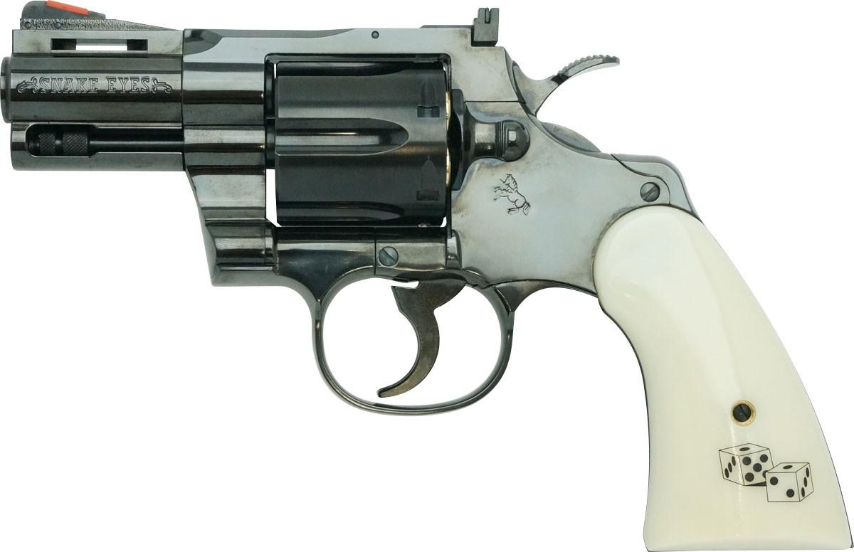 """Tanaka Colt Python Snake Eyes 2.5"""" R-Model Steel Finish Airsoft Revolver"""