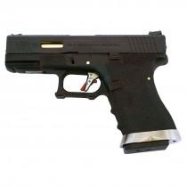 WE Force Glock 19 (Black Slide/Gold Barrel) Black GBB Pistol