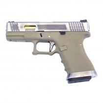 WE Force Glock 19 (Silver Slide/Gold Barrel) FDE GBB Pistol