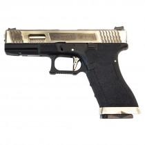 WE Force Glock 17 (Silver Slide/Silver Barrel) Black GBB Pistol