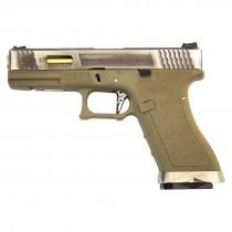 WE Force Glock 17 (Silver Slide/Gold Barrel) FDE GBB Pistol