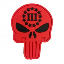 PUNISHER SKULL III (Red) Tactical Rubber Velcro Patches